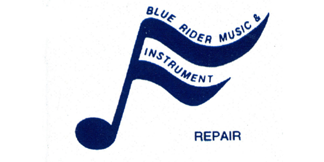 Cropped blue rider music instrument and repair logo