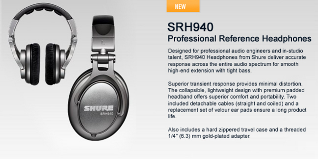 Cropped shure srh940