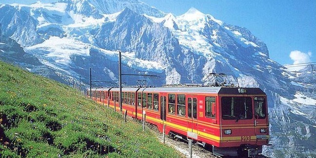 Cropped swiss train