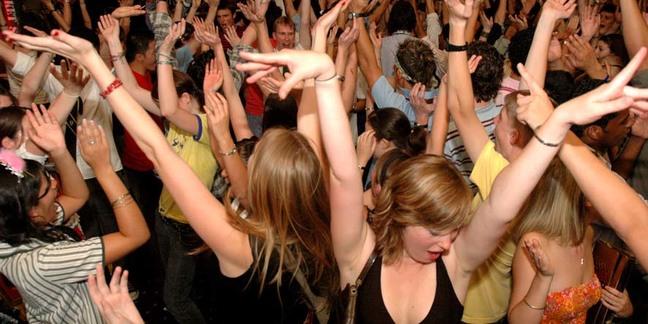 Cropped dancing crowd   djs